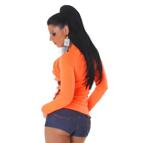 Jela London Damen Langarm-Shirt Karo-Rauten Bolero Optik Größen 34-36 und 38-40 verschiedene Farben Neon-Orange