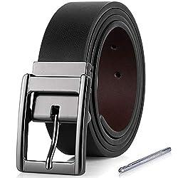 iValley Herren Gürtel, Ledergürtel Herren Schwarz Wendegürtel 35mm breit - Herrengürtel mit MetallSchnalle (105 CM Bundweite/120 CM Gesamtlänge, Schwarz/Braun 2)