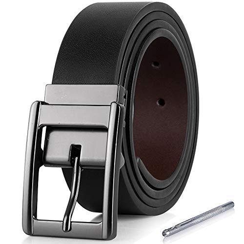 iValley Herren Gürtel, Ledergürtel Herren Schwarz Wendegürtel 35mm breit - Herrengürtel mit MetallSchnalle (95 CM Bundweite/110 CM Gesamtlänge, Schwarz/Braun 2)