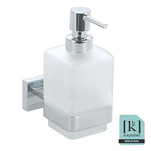 Korpusbad® Design Seifenspender AC121   Glasbehälter satiniert   edel verchromt   Form: viereckig   verdeckte Verschraubung   Montagematerial enthalten (Wand-seifenspender)
