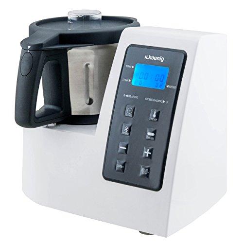 H.Koenig Robot Culinaire Chauffant Multifonctions 2L HKM1028 Inox 1300W professionnel, Fonction Turbo 9 Vitesses, Température Réglable, Couvercle anti-éclaboussure, Accessoires+livre recette inclus