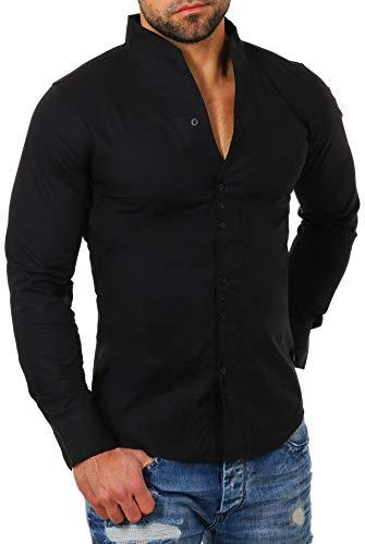 CARISMA - Camisa casual - cuello congregado - Manga Larga - para hombre negro Small
