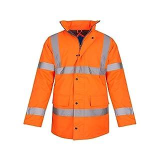 shelikes Hi Vis Viz Visibility Parka Workwear Security Safety Fluorescent Hooded Padded Waterproof Work Wear Jacket Coat [Orange 4XL]