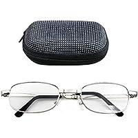 Providethebest Lectura portátil plegable Lentes oval Marco del metal presbicia lupas Eyewear con el caso 300 grados