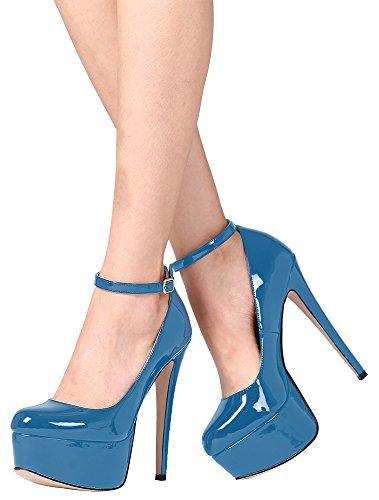 Guoar High Heels Große Größe Abendschuhe Geschlossene Toe Lack Schnalle Ankle Strap Pumps mit Plateau Club Party Hochzeit Blau