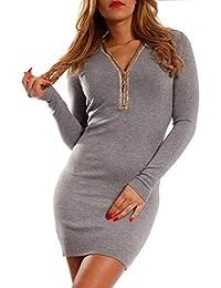 Young-Fashion Damen Strickkleid Long Pullover mit Strass Verschluss Winter  Freizeit 2503f0fffe