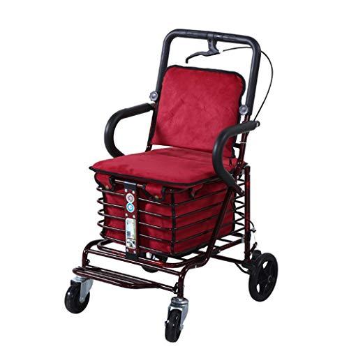 WWW Zusammenklappbare Allrad-Rollator-Gehhilfe Mit Gepolstertem Sitz, Verstellbarer Bremse Mit Korb Und Kissen Einkaufswagenlaufkatze des Alten Mannes (Color : Red)