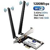 Scheda di Rete Wireless Wi-Fi con Bluetooth 4.2, Hommie 1200M 867mbps Scheda di Rete PCI, Wireless Express Dual Band 802.11ac, Intel 7265AC Scheda Wifi con 2 Antenne 6db, Win7/8/10, Linux4.2+