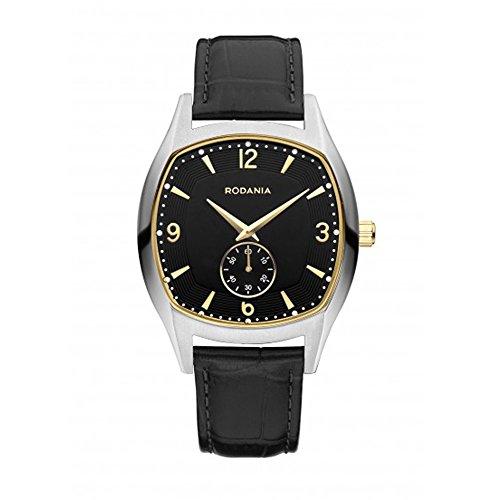 RODANIA Wall Street Stockholm Homme Bracelet Cuir Noir Quartz Montre 26171.27