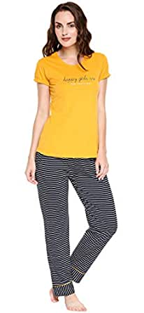ZEYO Women's Cotton Red & Yellow Strip Printed Night Suit