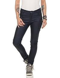 Fashion4Young 11075 Damen Röhrenhose Slimline Leder-Look Lederimitat  Damenhose Wetlook Hose 62d8754819