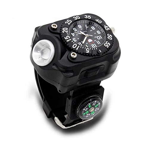 ZDLF 3-in-1 Armbanduhr Licht Mit Kompass, LED Super Helle IPX7 Wasserdichte Taschenlampe Taschenlampen Für Outdoor Camping Radfahren Für Männer Frauen (Mal-armbanduhr)
