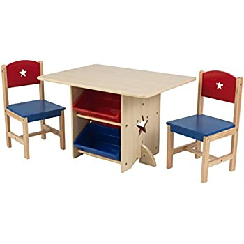 newest 3e14c d5e03 KidKraft 26912 Star Wooden Table & 2 Chair Set with storage bins, kids  children's playroom / bedroom furniture - Red & Blue