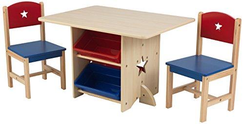 KidKraft 26912 Stern Tisch mit 2 Stühlen aus Holz für Kinder rot & blau mit Stauraum Körben - Kinderzimmer Möbel