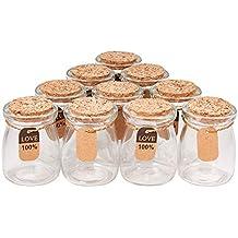 BENECREAT 10 Pack Botella de Vidrio con Corcho Equipada de Cuerda de Cáñamo y Etiqueta de