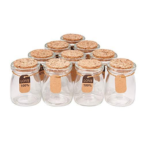 BENECREAT 10 PACK Glas Hochzeitsparty Favor Glaser mit Korkdeckel, Label-Tags und String FUR SuBigkeiten, Gewurze, Muschelsammlung, Kerzenherstellung und vieles mehr