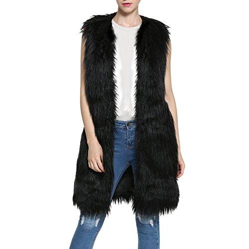 Ibaste lunga donna gilet pelliccia pelo elegante cappotto senza maniche pelliccia sintetica giacca