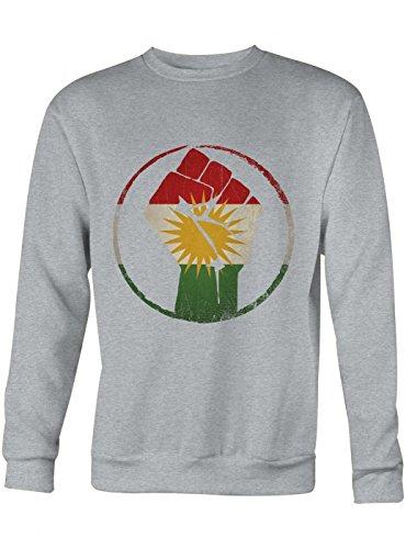 Shirt Happenz Kurden #1 Premium-Sweatshirt Flagge Kurdistan Türkei Syrien Iran Irak, Farbe:Graumeliert;Größe:M