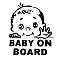 JYIP 12.9cm X 15cm Lovely Child BABY ON BOARD Safety Sign Car Stickers and Decal Vinyl Car Styling Decorative Graphics Black