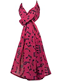 Cerise Pink Ladies Musical Notes Scarf Women's Fair Trade Fashion Scarves