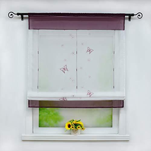 Joyswahl Voile Raffrollo mit Tunnelzug Transparente Bändchenrollo mit Schmetterling-Stickerei »Linde« Schals Fenster Gardine BxH 60x120cm Violett 1 Stück