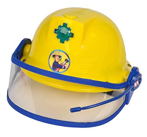 Simba - Feuerwehrmann Sam Helm, Feuerwehrhelm mit Funktion, gelb, mit Licht und Sirenen-Sound, Größeneinstellung möglich, D:23cm, für Kinder ab 3 Jahren