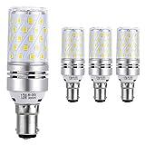 Hzsane B15 LED Mais Leuchtmittel 12W, Entspricht 100W Glühbirnen, 3000K Warm Weiß, 1200Lm, LED Birne, Kleine Bajonett Kappe LED Leuchtmittel, 4-Pack