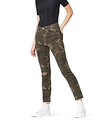 FIND Women's Straight Leg Ripped Jeans