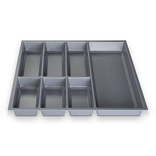ORGA-BOX® III Besteckeinsatz Besteckkasten silbergrau für 60er Schublade z.B. Nobilia ab 2013 (473,5 x 494 mm) (3-schubladen-box)