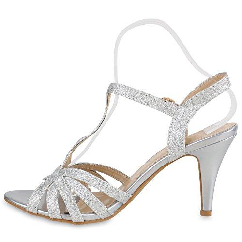 Damen Riemchensandaletten | Glitzer Sandaletten Metallic | Stilettos High Heels | Sommer Party Schuhe | Abiball Hochzeit Brautschuhe Silber Riemchen Glitzer