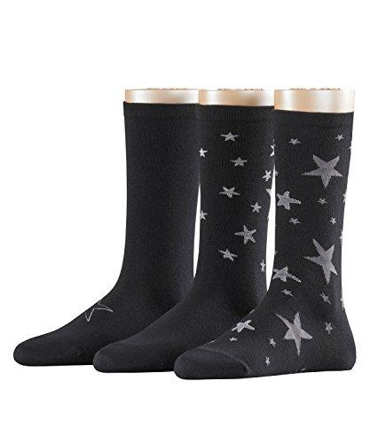 ESPRIT Damen Socken Stars, 3er Pack, Schwarz (Black 3000), 36/41