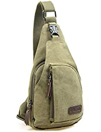Men Sling Chest Bag Mens Outdoor Sports Casual Canvas Unbalance Backpack Shoulder Bag - Size S (Army Green)