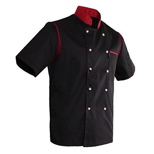 MagiDeal Herren Damen Kurzarm Kochjacke Bäckerjacke mit Mesh Ärmel Atmungsaktive Chef Arbeitskleidung Kochbekleidung mit Knöpfe - Schwarz, M (Mantel Ärmel Länge Chef)