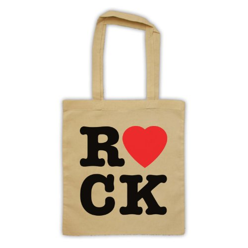 "Scritta in inglese ""I Love Rock'Borsa natur"
