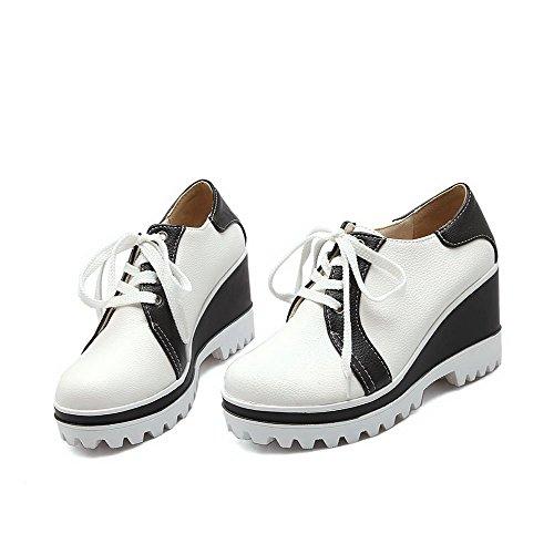 VogueZone009 Femme Matière Souple Lacet Rond à Talon Haut Couleur Unie Chaussures Légeres Blanc