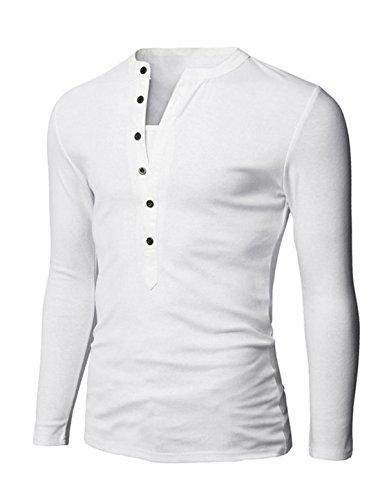 Herren Split Ausschnitt Langärmelig Knopf Ober Pullover Freizeit Oberteile Weiß