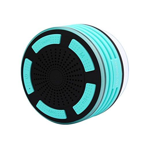 samLIKE Wasserdicht Lautsprecher, Bluetooth Kabelloser mit Saugnapf Spezieller Entwurf Lautsprecher, HiFi 3D Surroundsound Speaker mit LED Licht, für iPhone/iPad/Samsung/Laptops und Mehr ( Grün) (Licht Computer-lautsprecher Grünes)