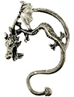 JewelTime Dragon Ear Cuff with Curved Tail in Antique Bronze