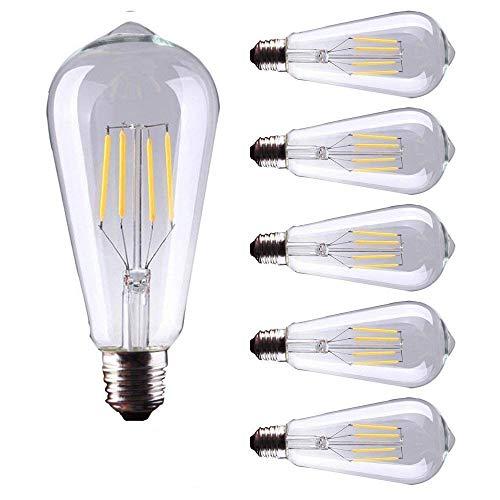 5X E27 LED Filament Bulbs Vintage Retro Edison 4W LED Light Bulb - 40W Equivalent - Warm White 2700K 220V-240V - Non-dimmable
