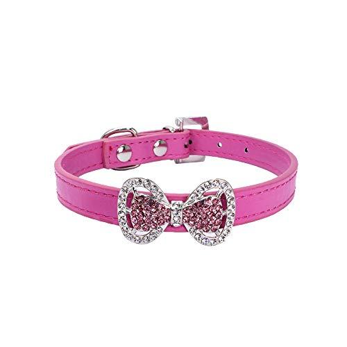 CAOQAO Exquisite Cute Durable Einstellbare Diamant Bowknot Leder Pet Halsbänder - Für kleine Hunde und Katzen - Farbe: Rot/Schwarz/Sky Blue/Pink/Pink - S/XS -