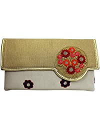 Ek Pahechan Designer Floral Embroidered Off White Clutch For Women's Elegant Fancy Casual Purse