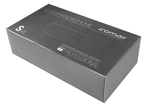 Comair 3012326 Latex Handschuhe, klein, 100 stück Box gepudert
