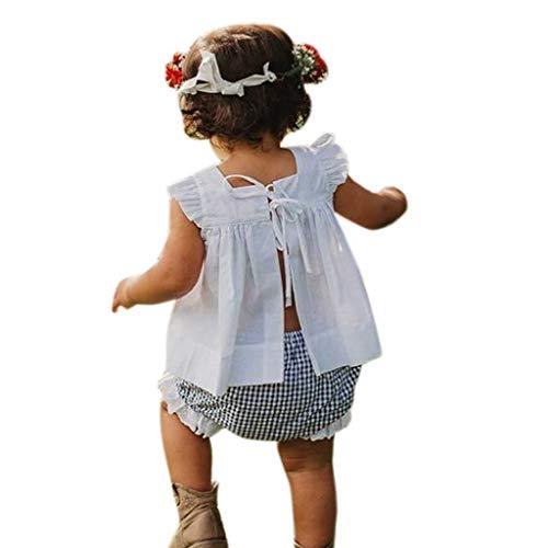 Mitlfuny Unisex Baby Kinder Jungen Zubehör Säuglingspflege,Neugeborenes Baby Sommer Outfit Kleidung Prinzessin Kleid + Plaid Hose Shorts Set (Blaue Eidechse Sonnenschutz)