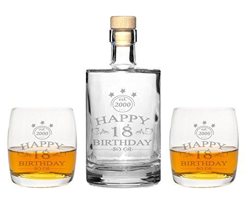 2 Edle Whiskey Glser Mit Whiskeykaraffe Happy Birthday Gravur Whisky Set Graviert Geschenkidee