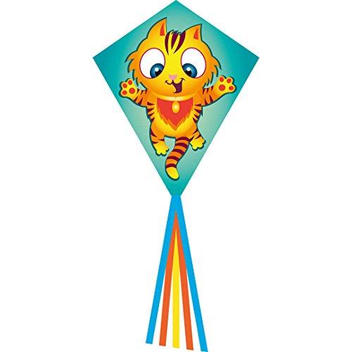 Ecoline 102126 - Eddy Tiggy 70cm Kinderdrachen Einleiner, ab 5 Jahren, 70x58cm und 2.5m Drachenschwanz, inkl. 17kp Polyesterschnur 25m auf Griff, 2-5 Beaufort