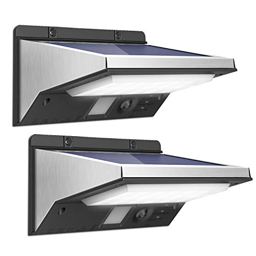 OUSFOT SolarleuchtenfürAußenSolarlampen mit Bewegungsmelder 2200mAh 3Modi Wasserdichte Edelstahl 2Stück Verpackung MEHRWEG