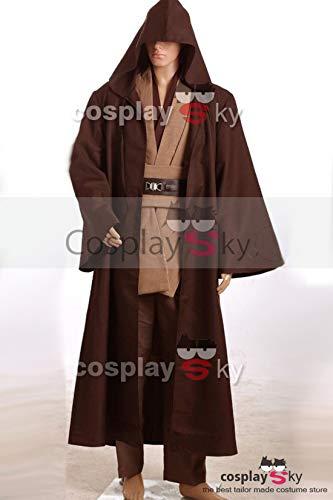 Wan Kenobi Kostüm Obi Robe - Manfis Herren Obi-Wan Kenobi Jedi Ritter Kostüm - Körper Tunika mit dunklen braun Star Wars Kostüm (L, Braun)