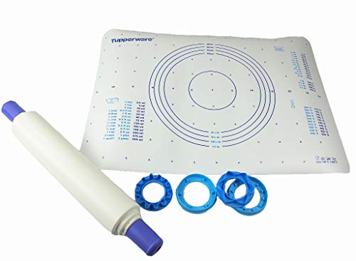 TUPPERWARE Backen Profi-Teigrolle blau Back'n'Roll+Teigunterlage Fix&Fertig
