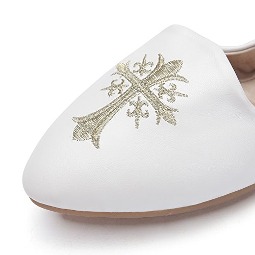 Adee Mesdames Chaussures Pompes en cuir brodé Blanc - blanc