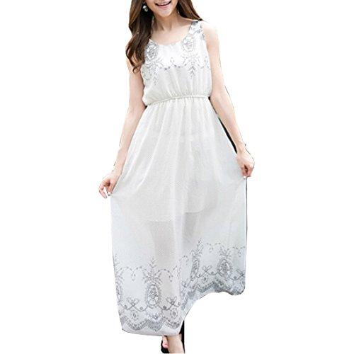 Partiss Bohême longues pour femme en mousseline de soie Blanc - Blanc